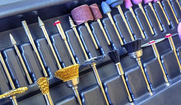 set of different grinding and cutting accessories - dremel zubehör stock-fotos und bilder