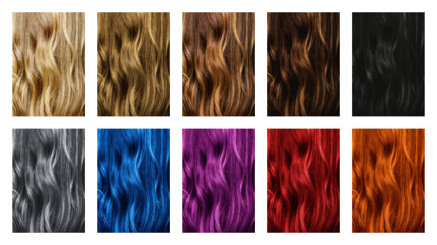 Set of different hair color samples stock photo