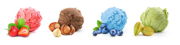 set of different ice cream on a white background stock photo