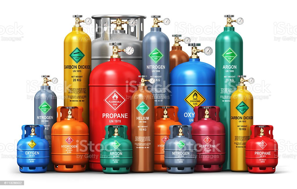 Set of different industrial liquefied gas containers stock photo