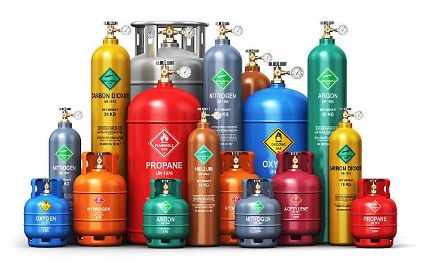 set of different industrial liquefied gas containers - cilindro - fotografias e filmes do acervo