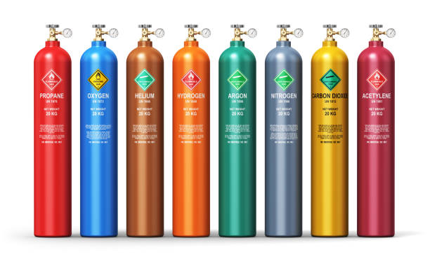 set of different industrial liquefied gas containers - azoto foto e immagini stock