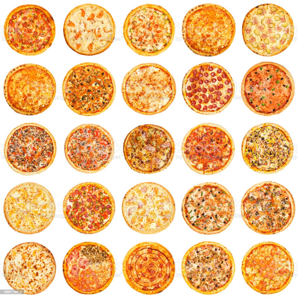 Set of different kind of pizza stock photo
