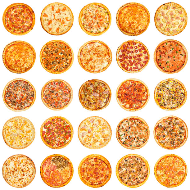 reihe von verschiedenen arten von pizza - italienische speisekarte stock-fotos und bilder