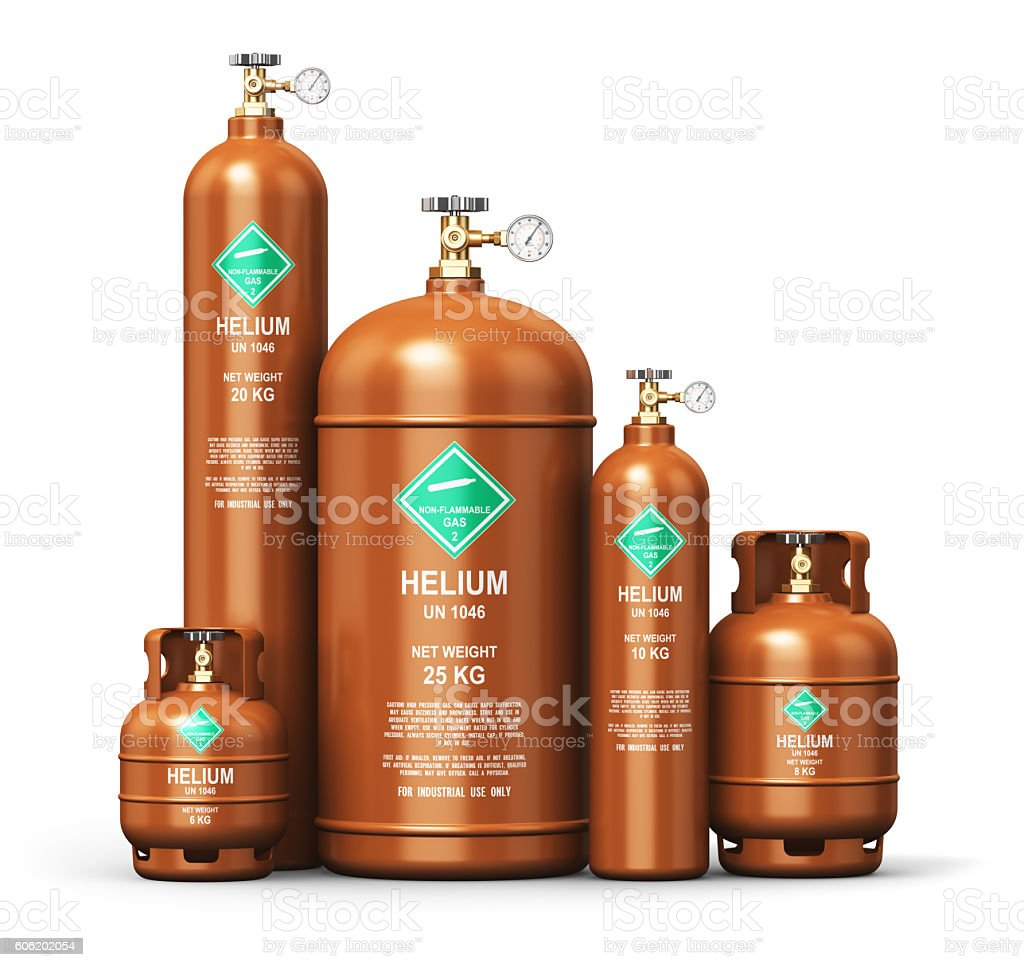 Set of different liquefied helium industrial gas containers stock photo