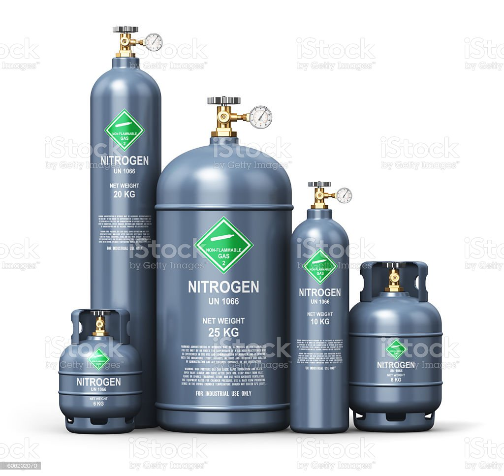 Set of different liquefied nitrogen industrial gas containers stock photo