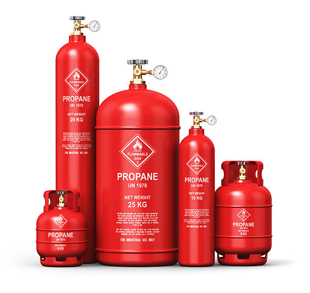 Set of different liquefied propane industrial gas containers stock photo