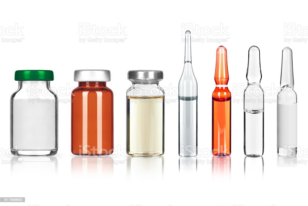 set of different medical ampoules on white background - foto de stock