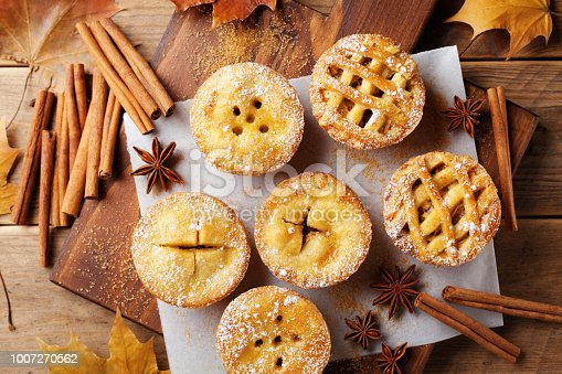 istock Set of different mini apple pies decorated sugar powder and cinnamon on wooden table top view. Autumn pastry dessert. 1007270562