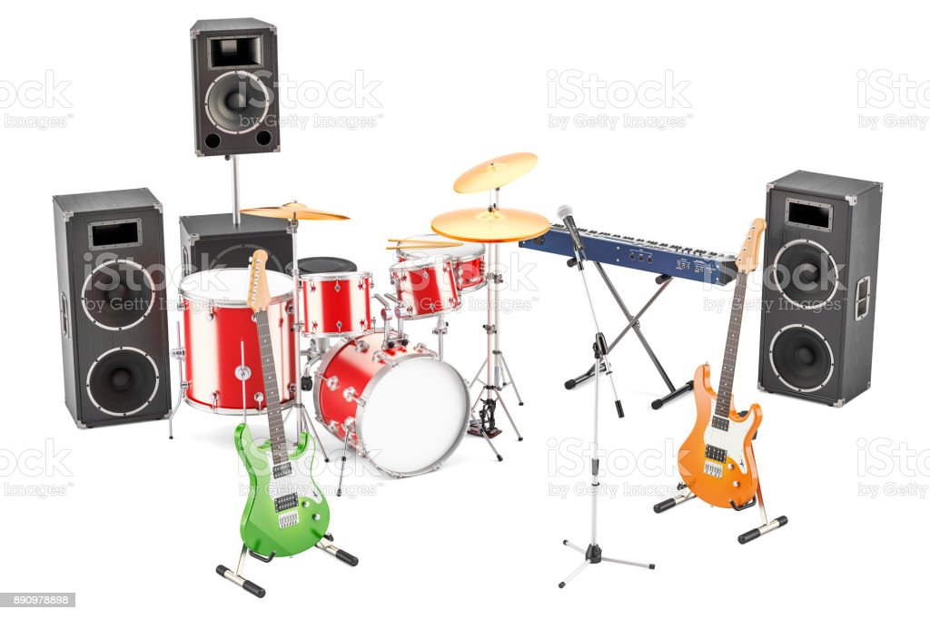 Set of different musical instruments and equipment, 3D rendering stock photo