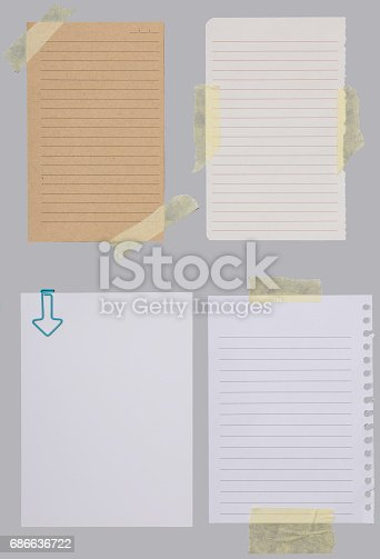 istock Set of different note papers with adhesive tape 686636722