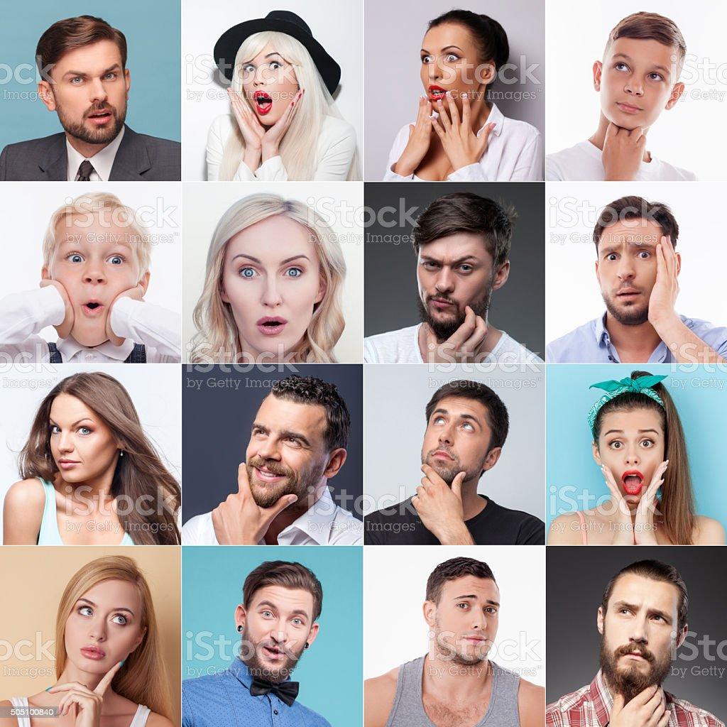 Fotografía De Grupo De Personas Diferentes Evincing Varias Emociones
