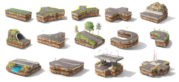Set of different pieces of road. Can see road structure. 3d illustration stock photo