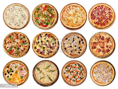 Big set of different pizzas: Ham with mushrooms, Barbecue, Peperoni's, Mexican, Chicken, Meat, Italian, Florentina, Bonanza, Margarita, Marinera, Hawaiian, Isolated on white background. Top view