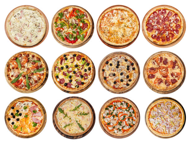 set of different pizzas Big set of different pizzas: Ham with mushrooms, Barbecue, Peperoni's, Mexican, Chicken, Meat, Italian, Florentina, Bonanza, Margarita, Marinera, Hawaiian, Isolated on white background. Top view pizza stock pictures, royalty-free photos & images