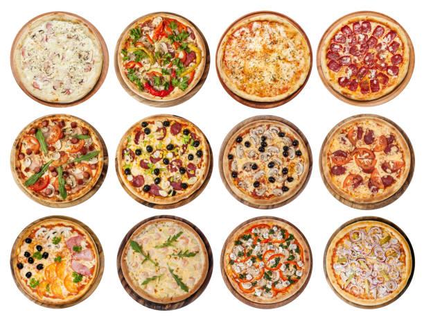 verschiedene pizzas - italienische speisekarte stock-fotos und bilder