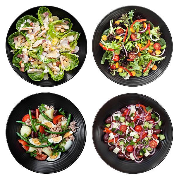 set mit verschiedenen salaten auf weißem hintergrund - ägäische inseln stock-fotos und bilder