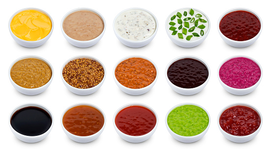 Set of different sauces isolated on white background