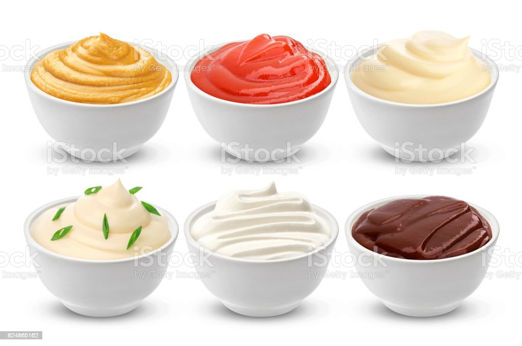 Set of different sauces isolated on white stock photo