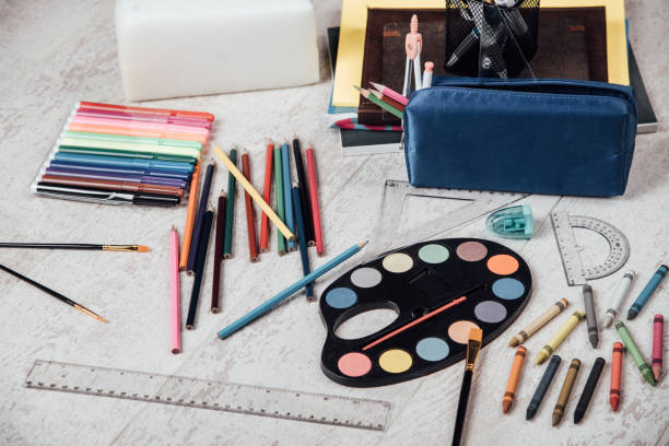 Set of different school stationeries stock photo