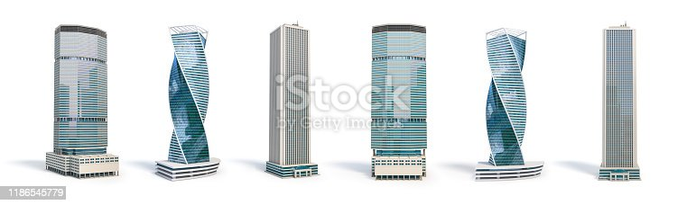 Set of different skyscraper buildings isolated on white. 3d illustration