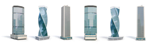 Set of different skyscraper buildings isolated on white. Set of different skyscraper buildings isolated on white. 3d illustration skyscraper stock pictures, royalty-free photos & images