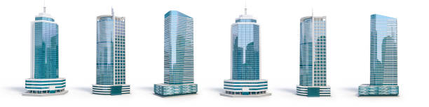 Set of different skyscraper buildings isolated on white. stock photo
