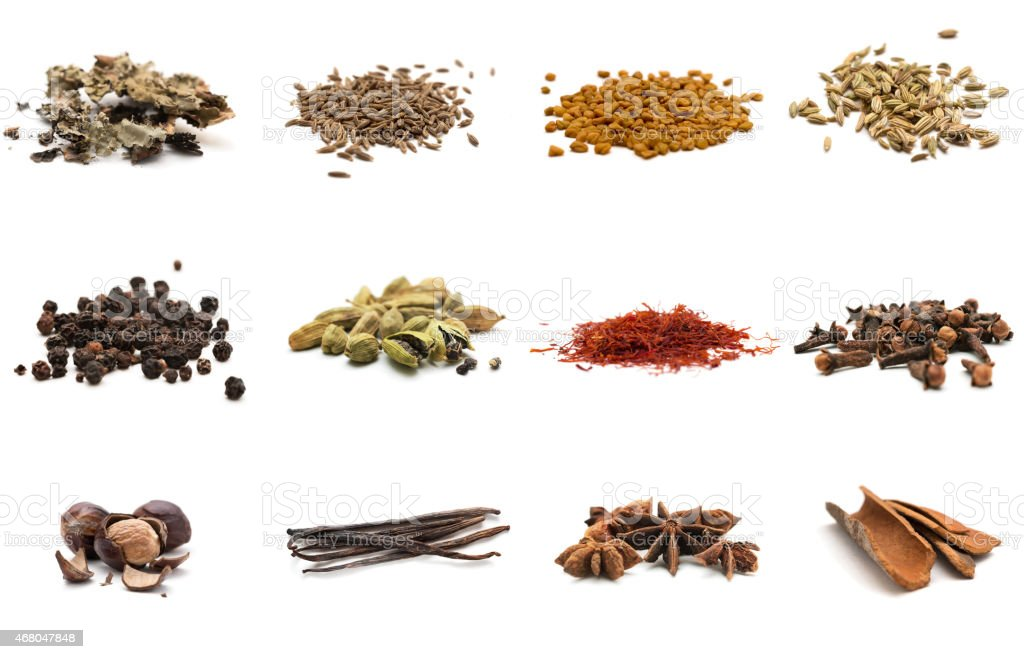 Set of different spices stock photo