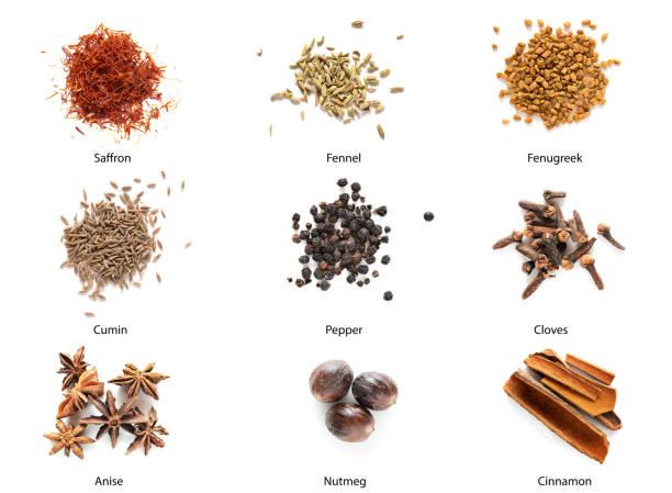 set of different spices - saffron on white bildbanksfoton och bilder