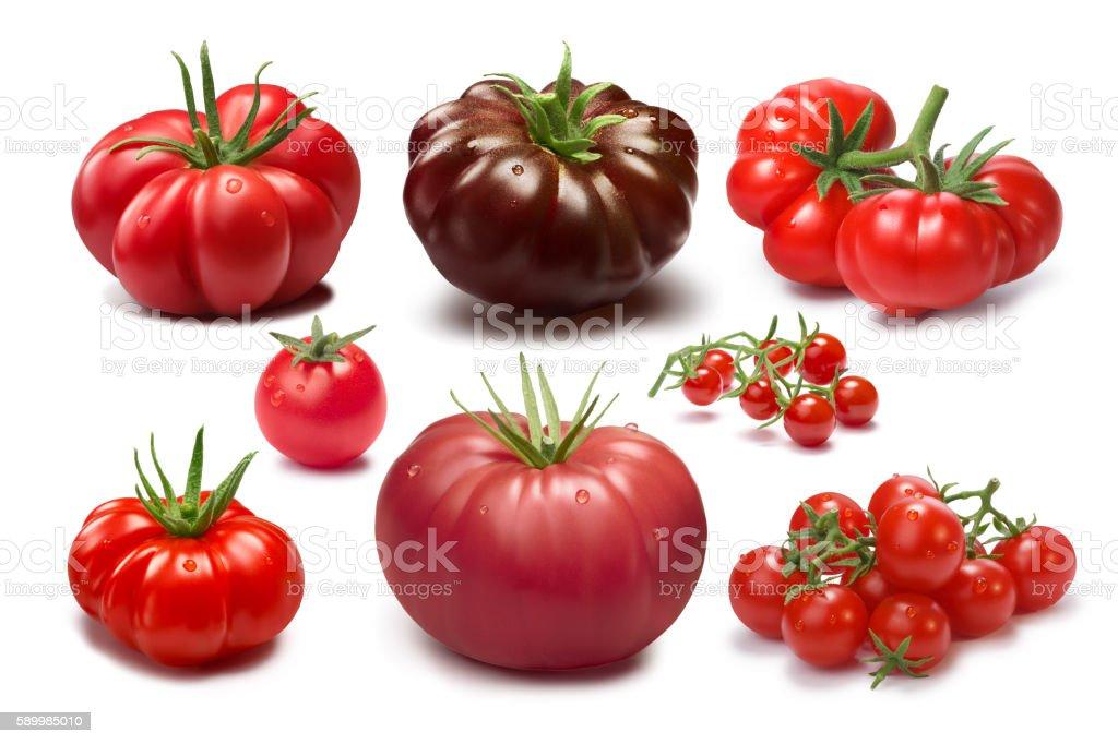 Set of different tomato varieties stock photo