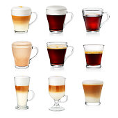 Different types of coffee isolated on white. Cafe menu. Set of different cups