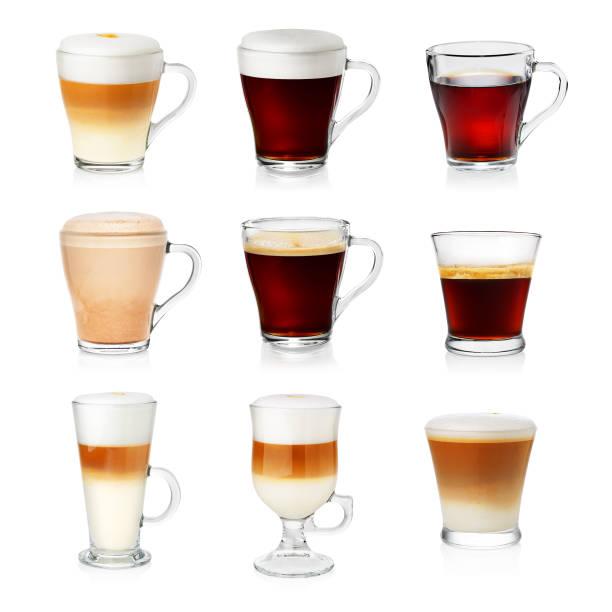 reihe von verschiedenen arten von kaffee - cappuccino stock-fotos und bilder