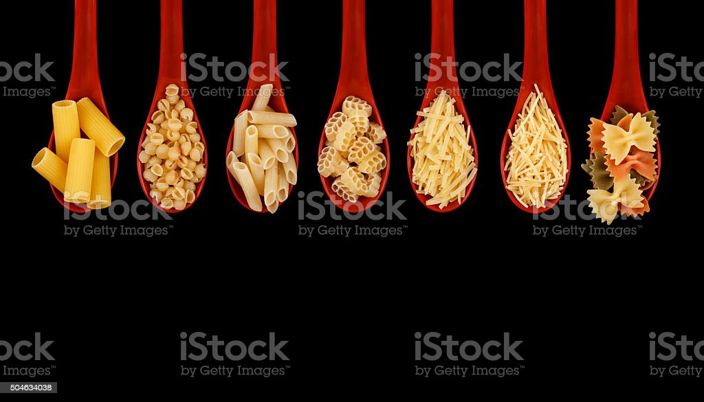 Set of different types of pasta stock photo