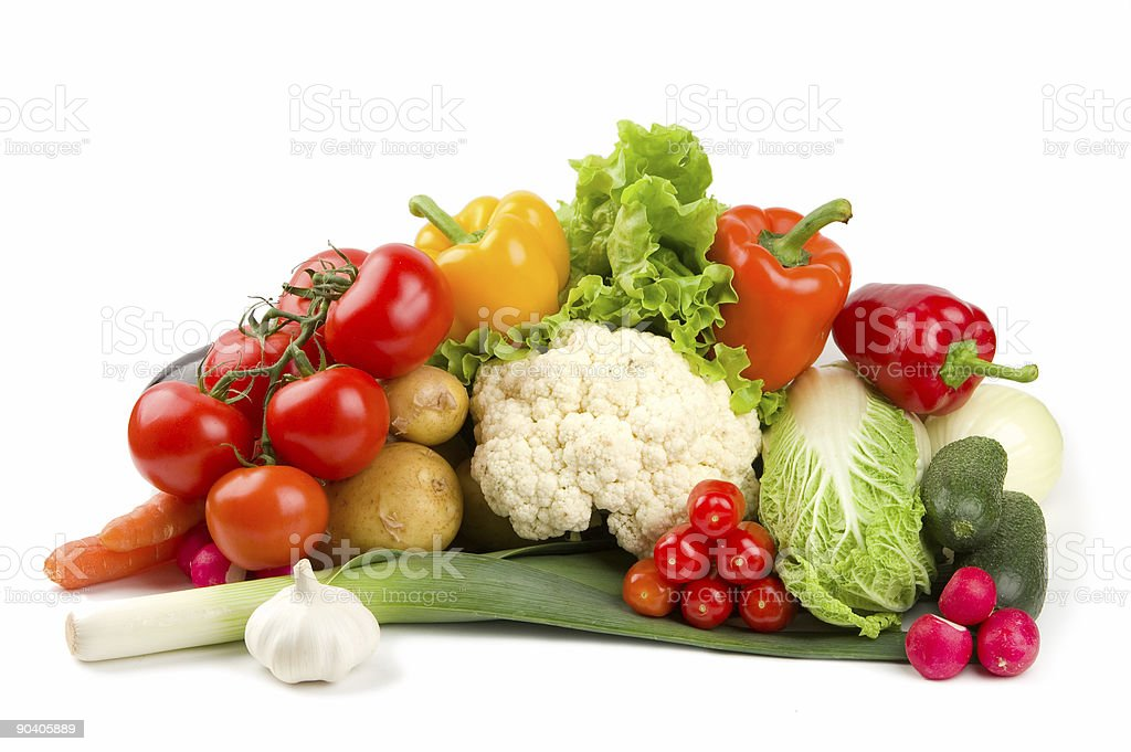 Set of different vegetables isolated on white stock photo
