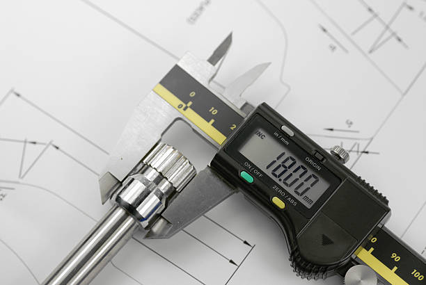 a set of digital calipers measuring the diameter of a shaft - diameter stock pictures, royalty-free photos & images
