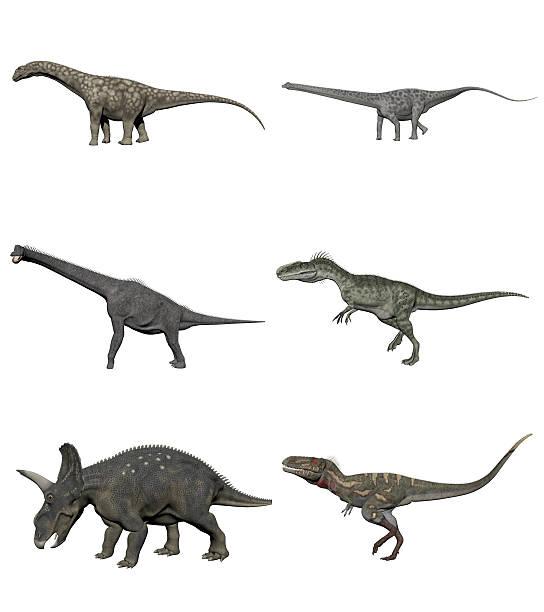 Set of dinosaurs - 3D render stock photo