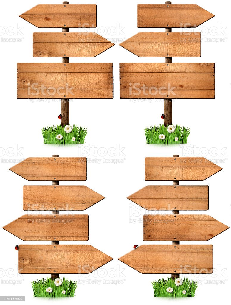 Set of Directional Wooden Signs with Pole stock photo