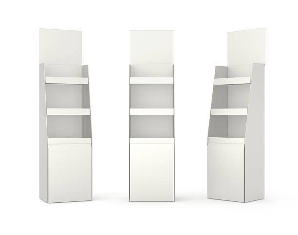 set of displays with shelves on white - retail display stock photos and pictures