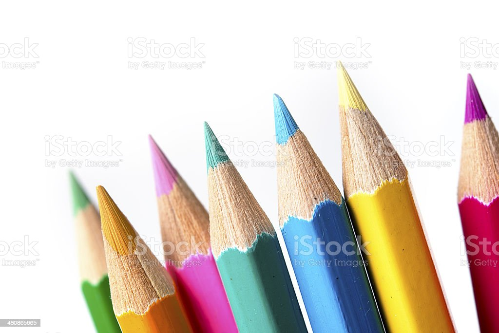 Set of drawing multi colour pencils with copy space stock photo