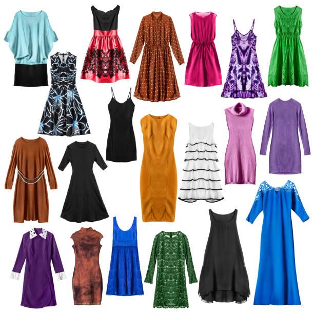 set von kleidern isoliert - spitzen maxi stock-fotos und bilder
