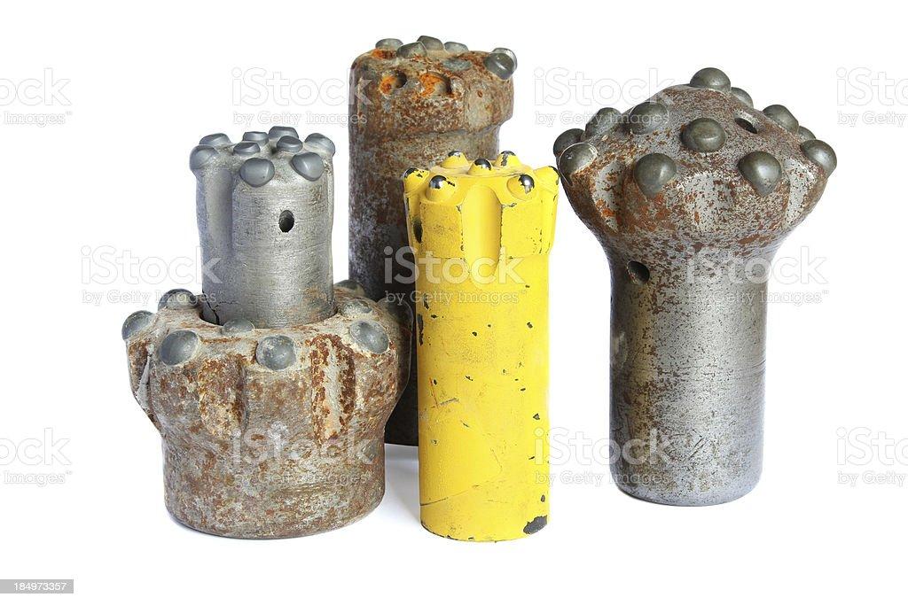 Set of drilling bits stock photo