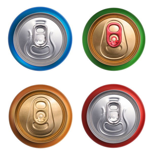 Set of drink cans. Top view isolated on white background stock photo