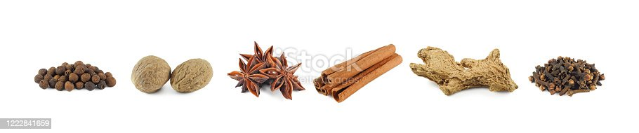 Set of dry spices isolated on white background: allspice, nutmeg, star anise, cinnamon sticks, dried ginger and clove side view
