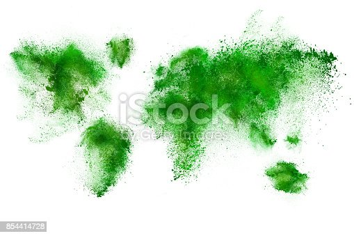 istock Set of dust powder clouds shaped like earth map 854414728