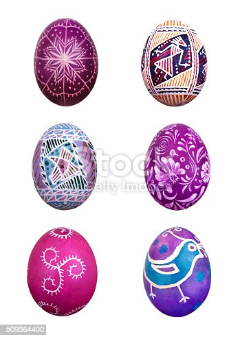 Set of easter eggs, isolated on white background