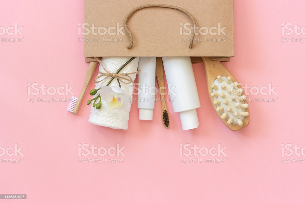 Set of eco cosmetics products and tools for shower or bath Bamboo...