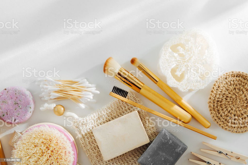Set of Eco cosmetics products and tools. Soap, Shampoo Bottles,...
