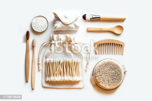 istock Set of eco natural bathroom accessories on white background. 1179518035