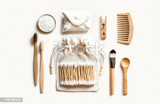 istock Set of eco natural bathroom accessories on white background. 1180762201