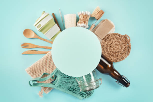Set of eco products with circle frame for text. Zero waste concept. Flat lay with copyspace. stock photo